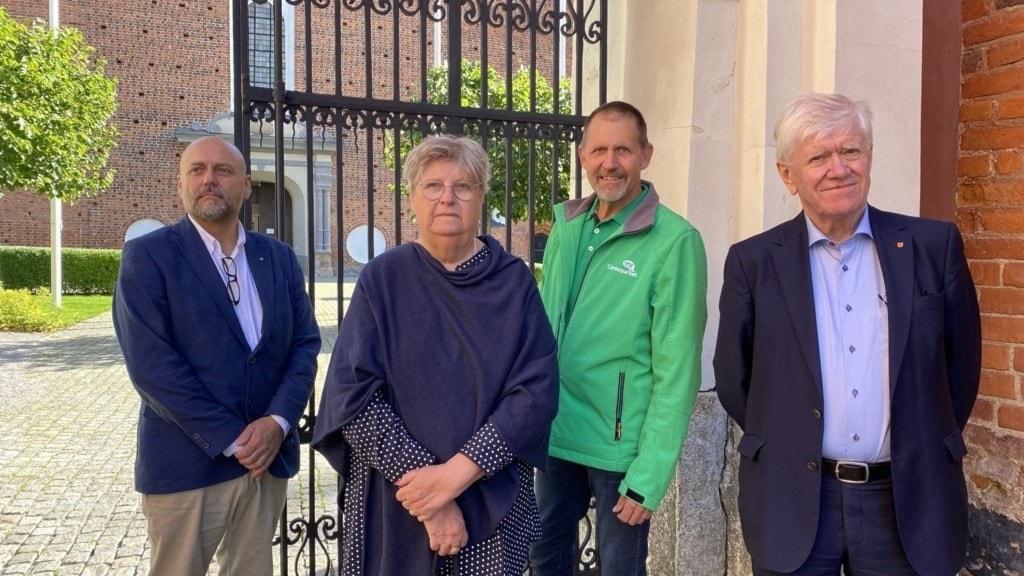 Från vänster: Peter Laufer (SD), Birgitta Wrede (POSK), Tomas Fors (C), Lars Johnsson (S).