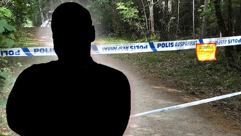 Svart silhuett över avspärrningar i Årbyskogen i Eskilstuna, där en man mördades.
