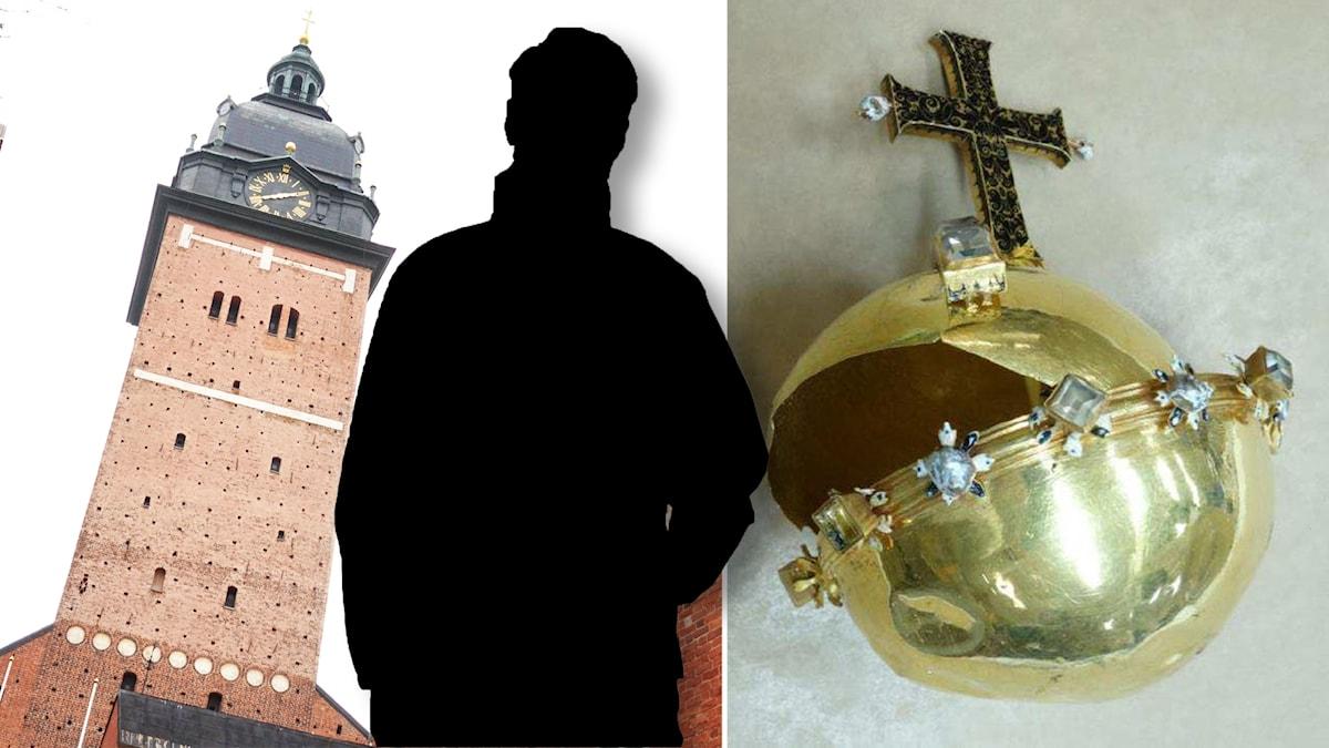 Silhuett av en man mellan domkyrkotorn och förstört guldäpple.