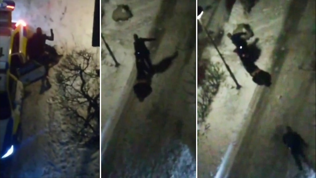 Bilder ur en vittnesfilm, som visar hur en polis slår och släpar en handfängslad person vid ett ingripande.