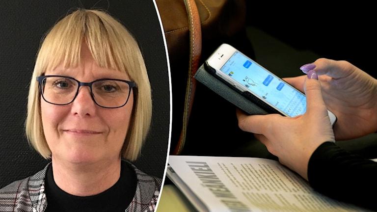 Cecilia Rabaeck Nöhr och mobil i skolan