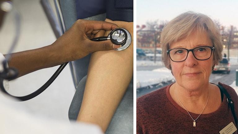 Eva-Charlotte Bernthson, projektledare Region Sörmland, i ett bildmontage med ett läkarbesök.