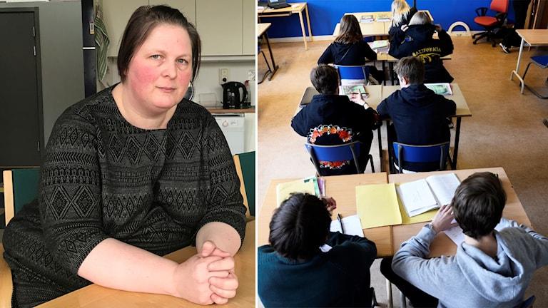 Ingela Hertze ser sammanbiten ut. Till höger: bild på barn i skolan.