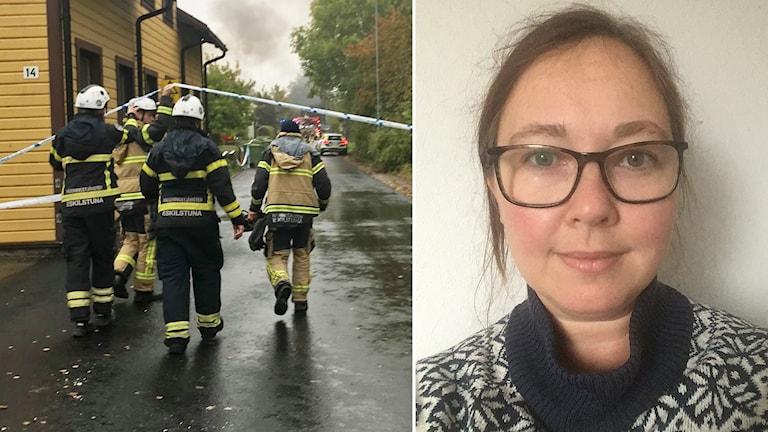 Lucinda Neselius tittar in i kameran, inklippt vid sidan av brandmän som går under avspärrningstejp.