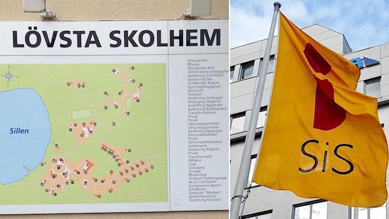 Bild på karta över Lövsta skolhem, plus bild på SiS-flagga.