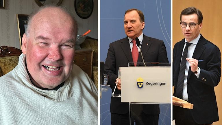 Jan Ola Pettersson från FUB. Till höger: Stefan Löfven (S) och Ulf Kristersson (M).