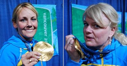 Collage Anna Le Moine Anette Norberg med sina OS-guld. Foto: Robert Tennisberg/SR