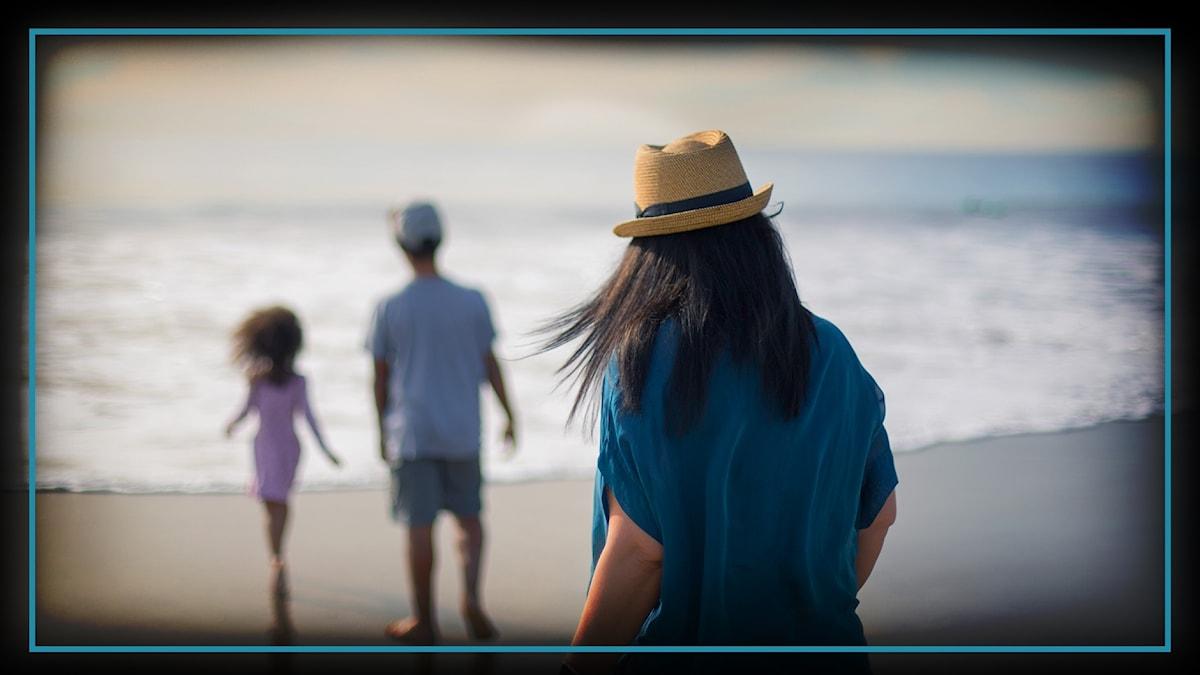 """""""Camilla"""" med barnen på Venice Beach."""