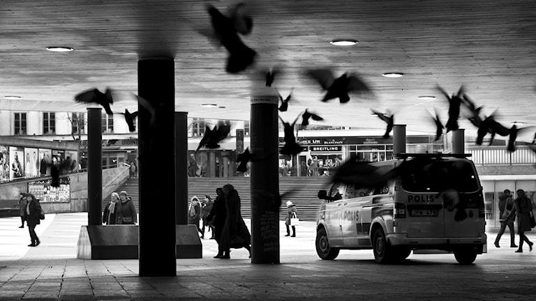 """Polisbil på """"Plattan"""", Sergels torg, i Stockholm. Foto: Jenny Groth/Andreas Dybeck."""