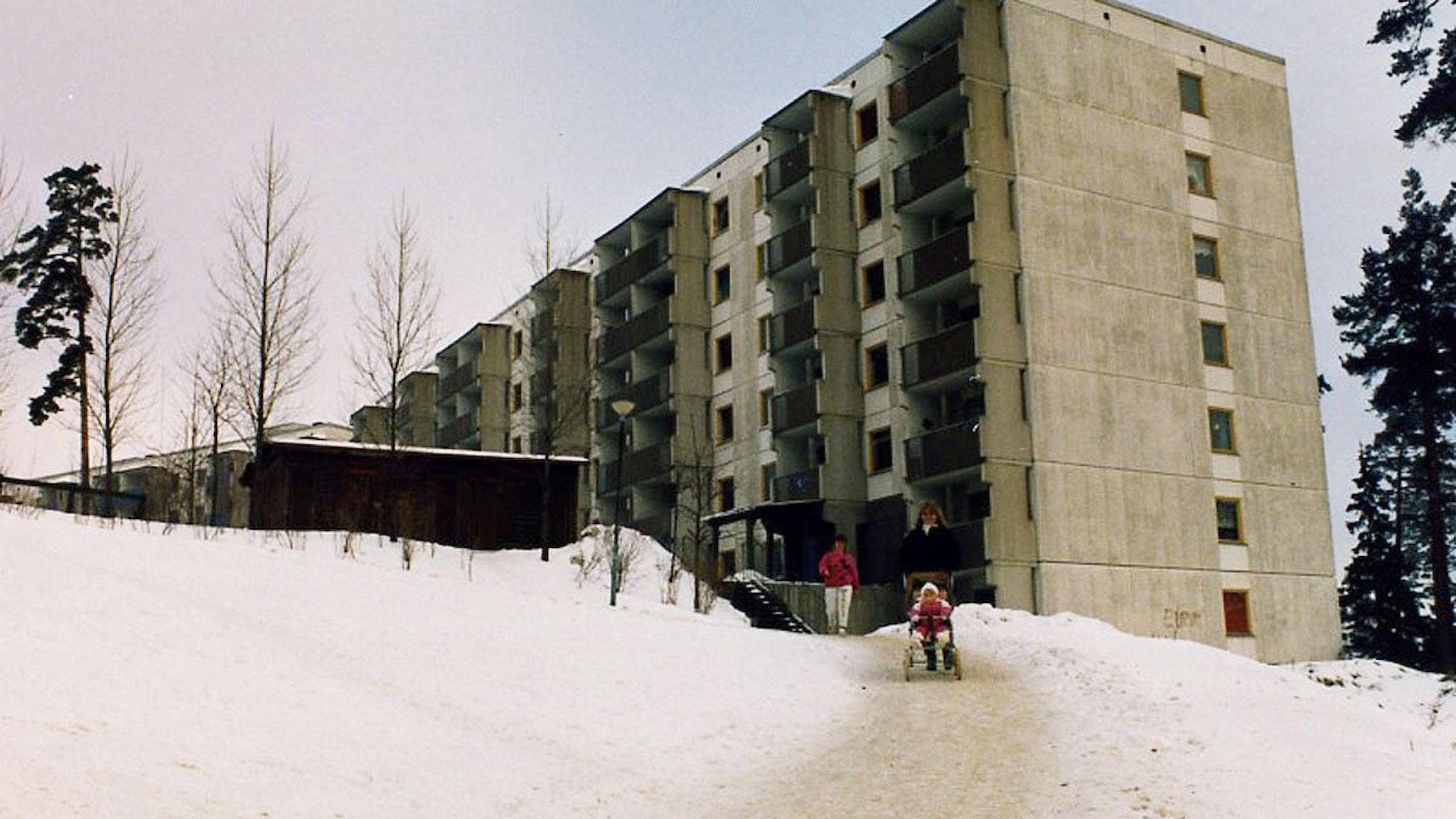 Vita husen i Saltskog före upprustningen. Foto: Telgebostäder