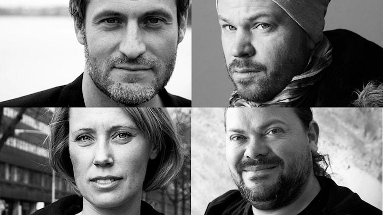 De nominerade (från övre vänstra hörnet): Emil Öslund, Anton Berg, Matilda Uusijärvi Ek och Manuel Cubas. Foto: Sveriges Radio.