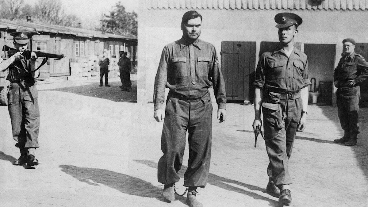 Brittiska soldater i Bergen- Belsen med den tillfångatagne lägerkommendant Josef Kramer, april 1945. Foto: SVT bild.