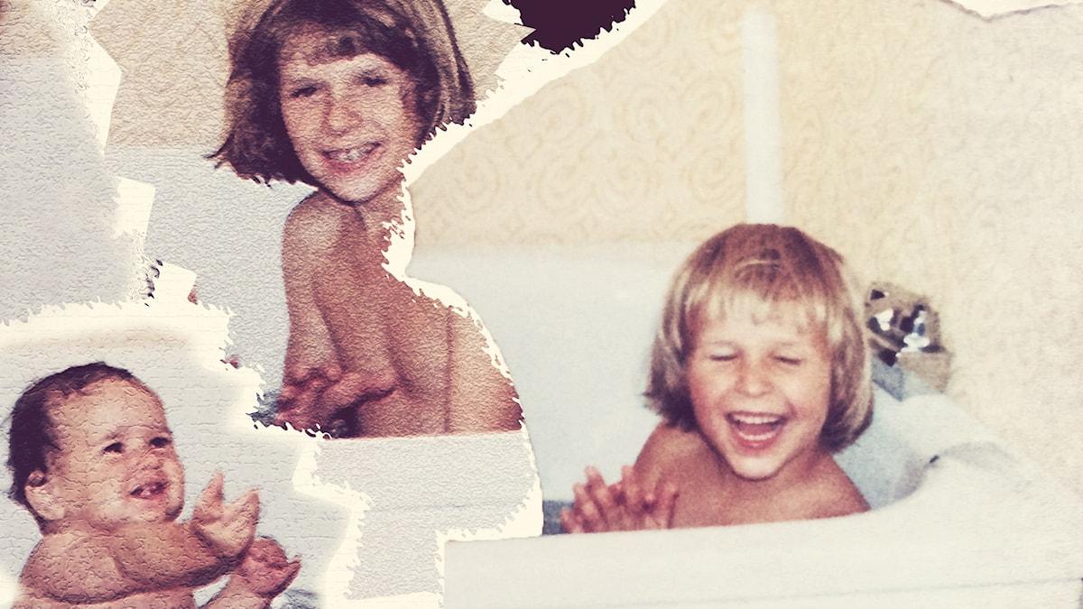 Syskonen i badet. Foto: Privat. Collage: Joanna Gorecka.