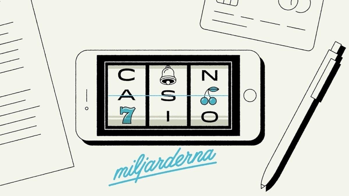 Teckand bild på telefon där det står Casinomiljarderna