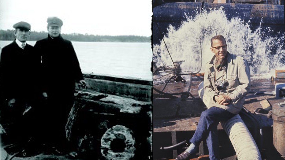 Simon Olschanski t.v.och kommendörskapten Lenny Stackell år 1921 vid bärgning ev ett 1600-talsskepp nära Dalarö. Anders Franzén, mannen bakom Vasas bärgning.