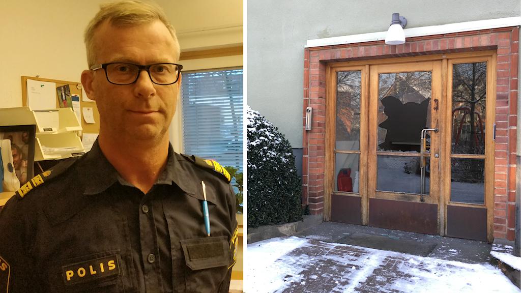 En delad bild av Håkan Boberg och dörren med sprängskador i fönstret.