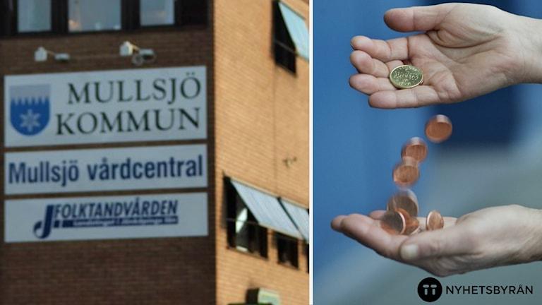 En montagebild över Mullsjös kommunhus och händer som håller i händer.