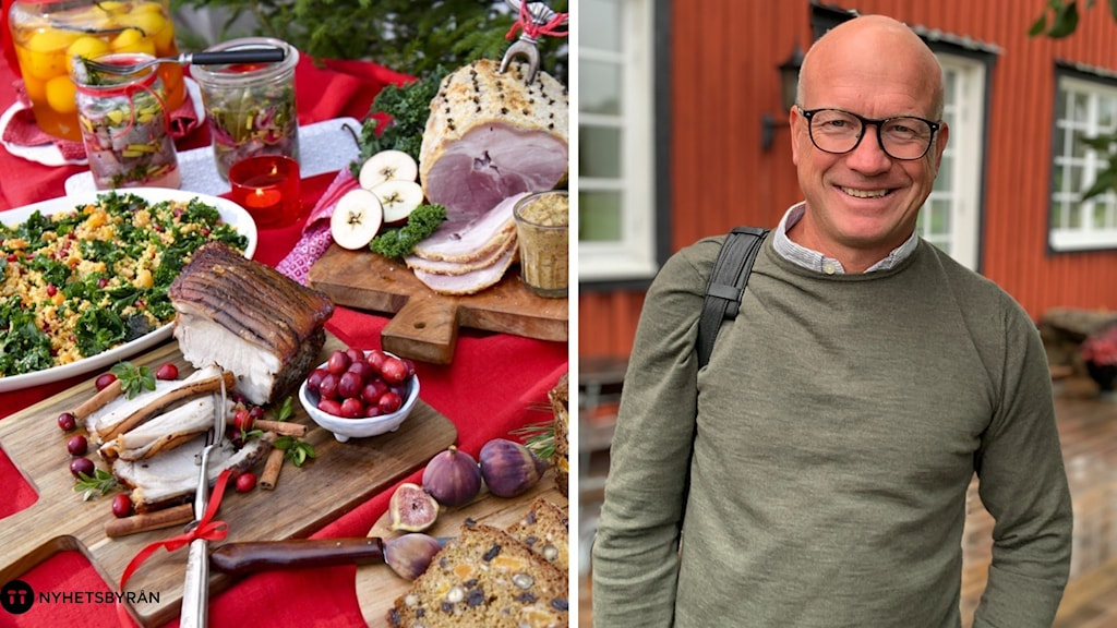 En delad bild på ett julbord fullt med mat och Hook Herrgårds vd Hans Edberg som står framför en byggnad.