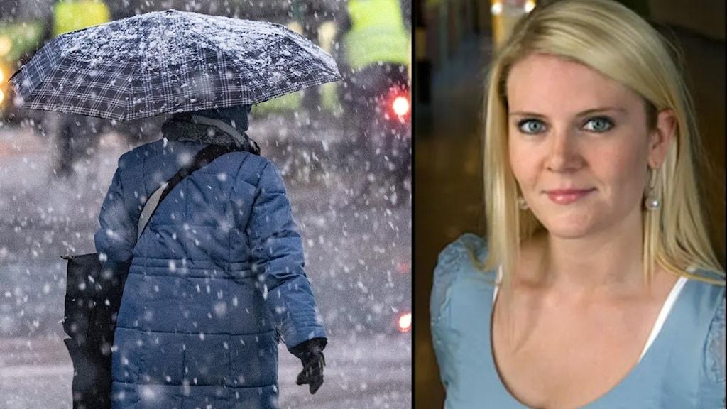 En kvinna med paraply i blötsnö, och en ung kvinna som är meteorolog