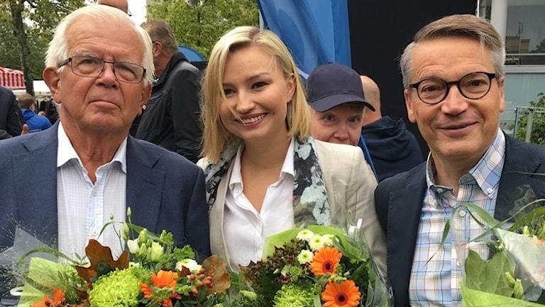 Alf Svensson, Ebba Busch Thor, Göran Hägglund i Jönköping, 1 september 2018. Foto: Lovisa Buvhammar/Sveriges Radio.