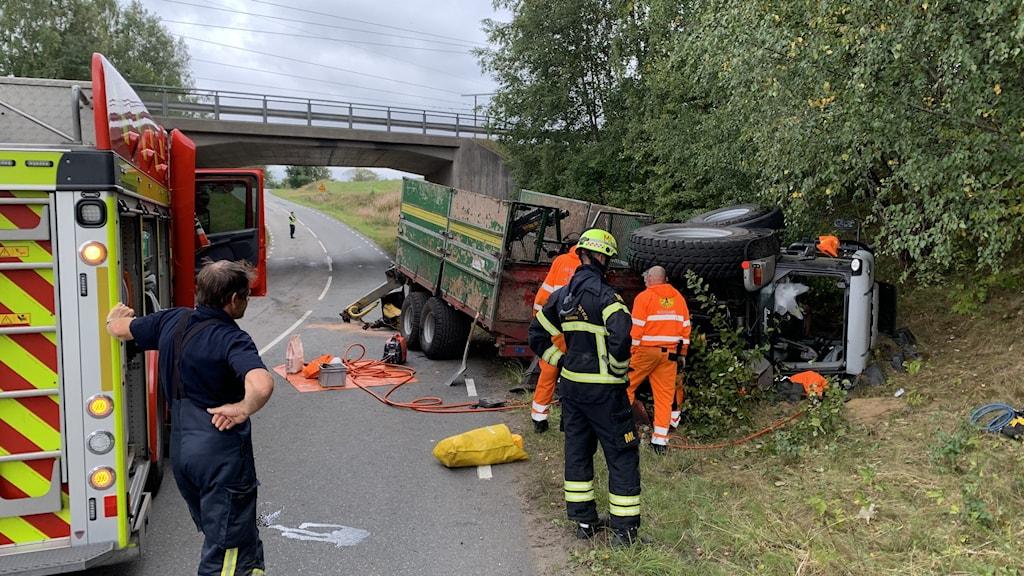 Traktorolycka vid Klämmestorp i Jönköping.