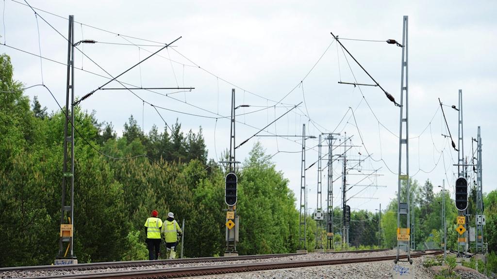 Flera stolpar med elektriska kontaktledningar går över järnvägsspåren.