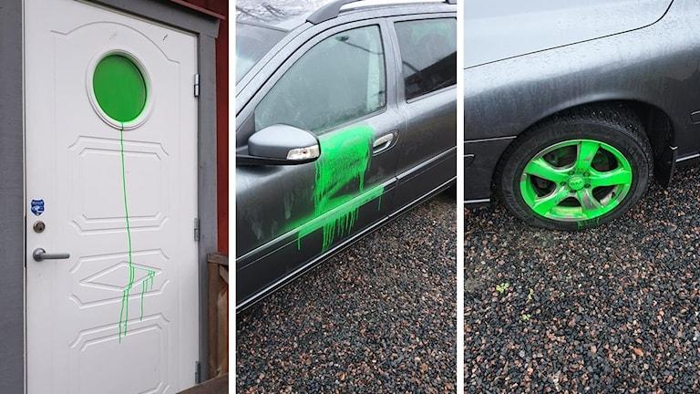 Nedklottrad dörr och bil med grön sprayfärg.
