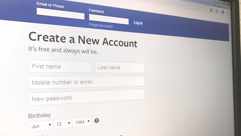 """Inloggningsruta på socialt media med texten """"skapa konto""""."""