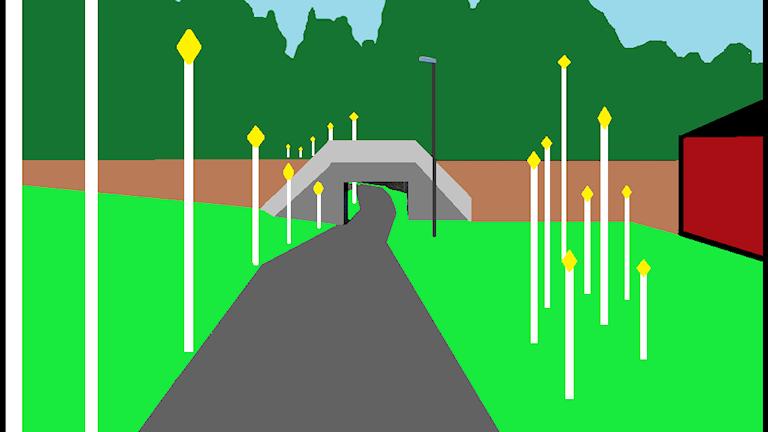 En målad bild av en väg med många flaggstänger bredvid.