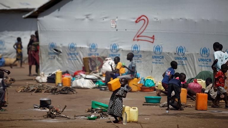 Flyktingläger i Uganda.