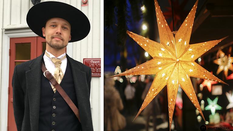 En delad bild på Martin Ahlberg och en julstjärna.