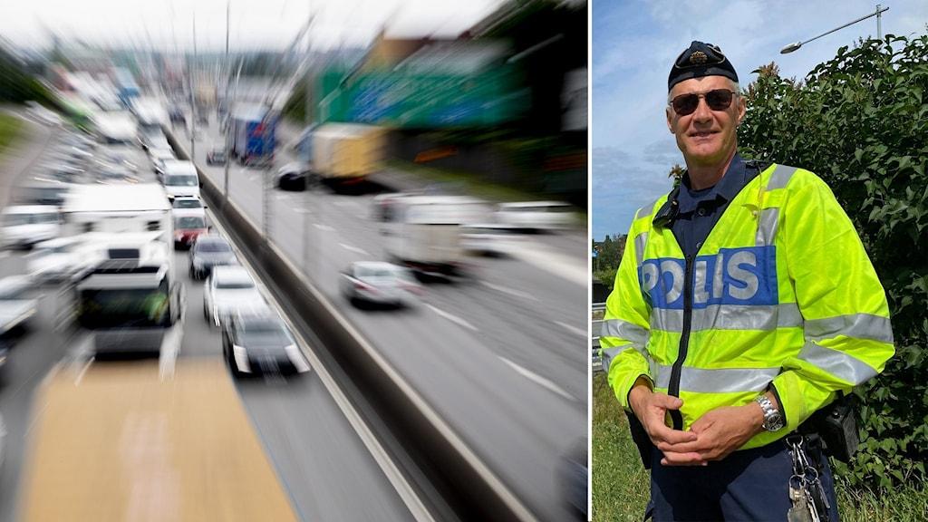 Kollage med trafik och porträtt på polis.