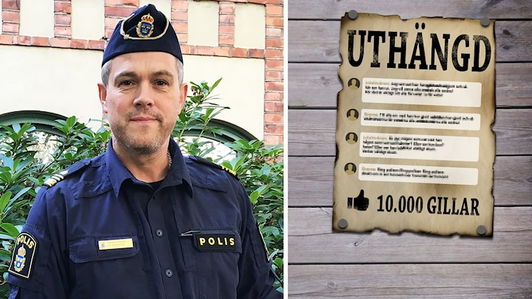 """Roger Olsson. Affisch med texten """"uthängd""""."""