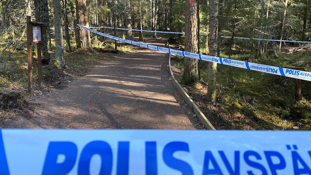Polisavspärrning vid Dumme Mosse.