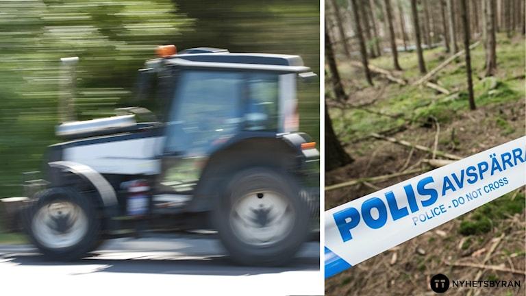 En traktor och en polisavspärrning.