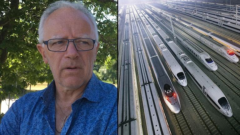 Kommunalrådet Anders Wilander i blå tröja tittar på ett tjugotal snabbtåg som står uppställda på en bangård i Kina.