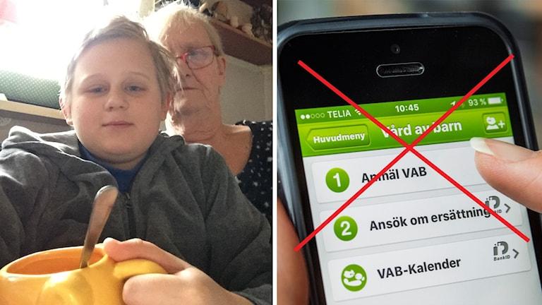 """Britt-Marie Fisk och barnbarnet Emil. Till höger en överkryssad närbild på ett finger som ska trycka på """"Anmäl VAB"""" på en telefon."""