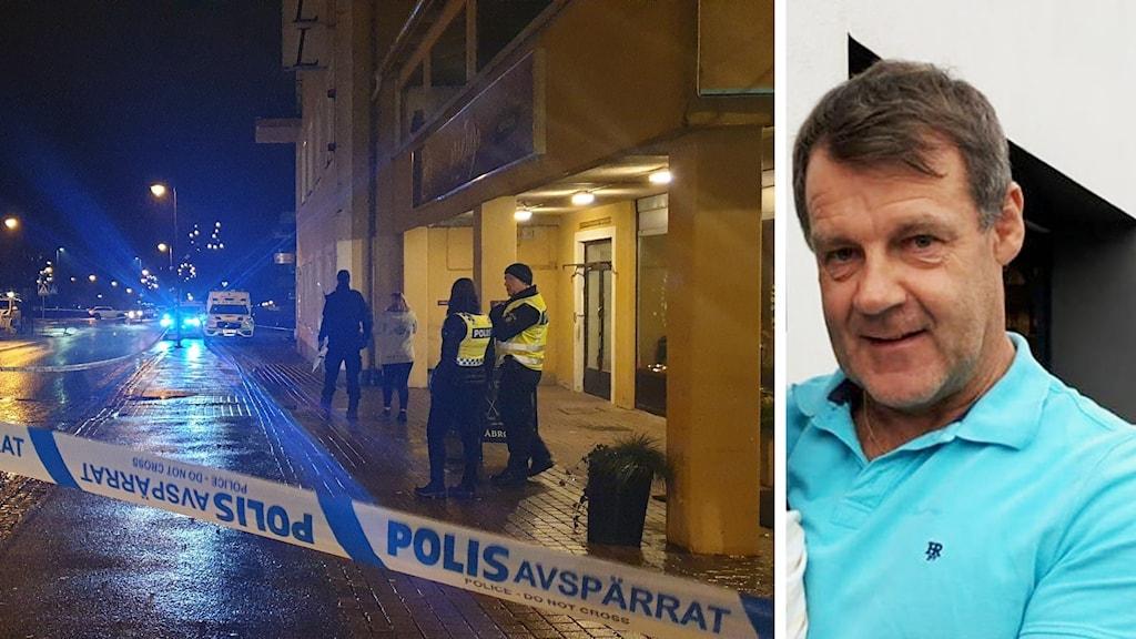 En polisavspärrning bredvid en man i turkos tröja