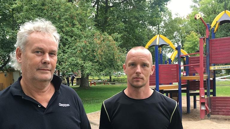 Ulf Klang, produktionsledare för gata och park på Nässjö Affärsverk och Mikael Åhman, anläggningsarbetare.