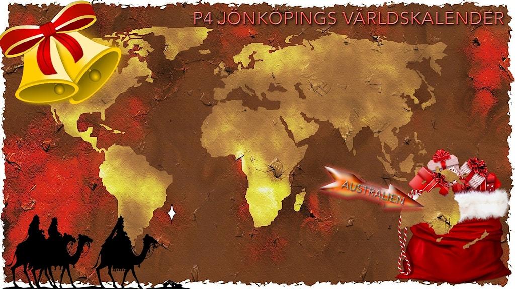 Julpyntad världskarta med pil som pekar mot Australien.