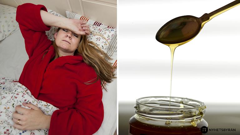En delad bild på en kvinna som ligger i en säng och ser sjuk ut och en honungsburk.