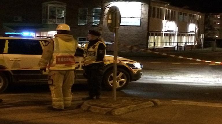 Ett område i Tranås var avspärrat på tisdagskvällen efter ett hot om explosion.