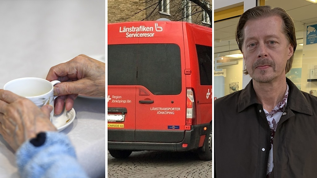 Montage. En äldre person håller i en kaffekopp. En färdtjänstbuss.