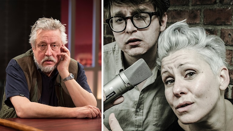 Montage: En bild av Leif GW Persson och Sanna och Malte som håller i en mikrofon.
