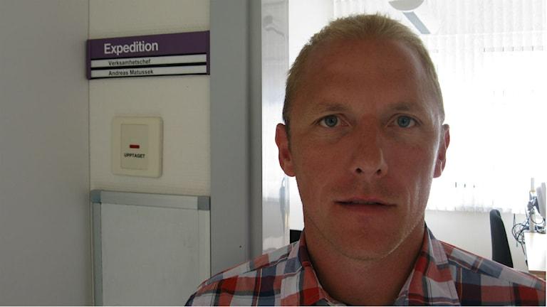 Andreas Mattusek är verksamhetschef vid Laboratoriemedicin på länssjukhuset Ryhov. Foto: Oskar Mattisson/Sveriges Radio.