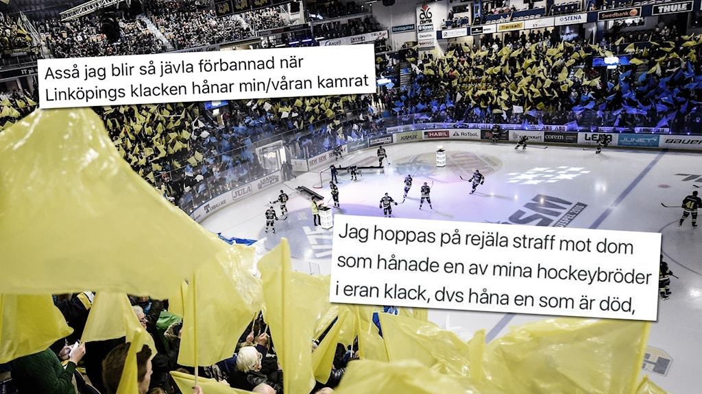 Publik i en hockeyarena håller i blå och gula flaggor. På bilden är text från sociala medier inklippt.