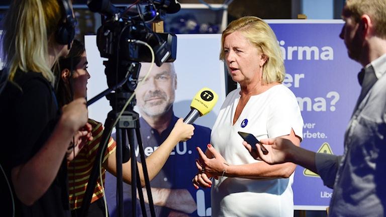 Maria Arnholm intervjuas.