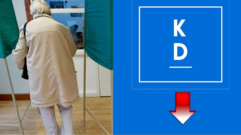 En pensionär i vallokalen och kd:s logga.