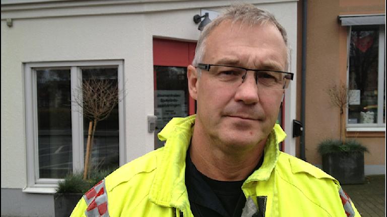 Insatsledare Jan Callas, Räddningstjänsten i Jönköping. Foto: Rebecka Montelius/Sveriges Radio.