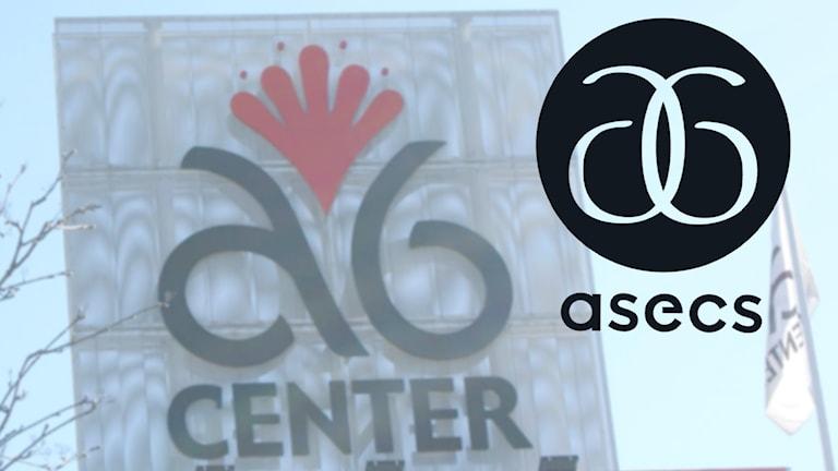 En entréskylt med texten A6 center och den nya loggan inklippt bredvid.